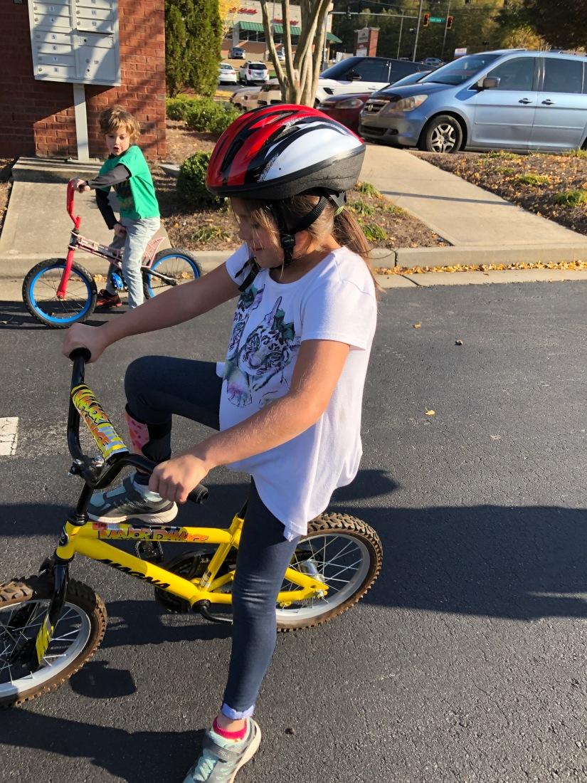 Children riding bicycles